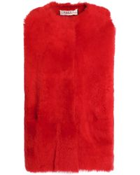 Marni - Woman Shearling Vest Red Size 38 - Lyst