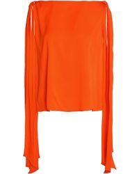 MILLY - Bow-detailed Stretch-silk Top - Lyst