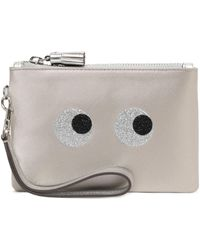 Anya Hindmarch - Metallic Leather-trimmed Glittered Satin Pouch - Lyst
