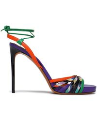 Missoni - Woman Leather And Crochet-knit Sandals Violet - Lyst