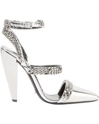 Tom Ford - Chain-embellished Mirrored-leather Pumps Silver - Lyst