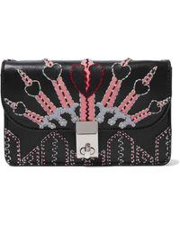 Valentino Woman Love Blade Embellished Leather Shoulder Bag Black