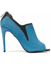 Just Cavalli - Leather-trimmed Snake-effect Suede Mules Light Blue - Lyst