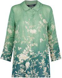Max Mara - Dégradé Floral-print Ramie Shirt - Lyst