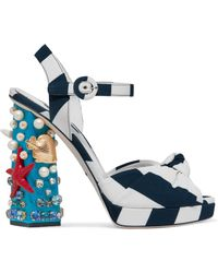 Dolce & Gabbana - 105mm Keira Sea Embellished Cady Sandals - Lyst