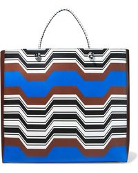 Missoni - Woman Printed Leather Tote Brown - Lyst