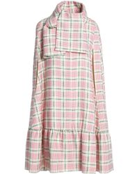 MSGM - Checked Wool And Silk-blend Cape Pastel Pink - Lyst