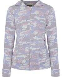 Monrow - Printed Stretch-jersey Hooded Jacket - Lyst