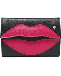 Charlotte Olympia - Appliquéd Two-tone Textured-leather Key Wallet - Lyst