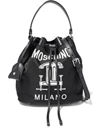Moschino - Construction Leather-trimmed Printed Shell Bucket Bag - Lyst