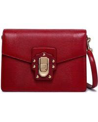 d5687521841e Dolce   Gabbana - Woman Lucia Lizard-effect Leather Shoulder Bag Red - Lyst