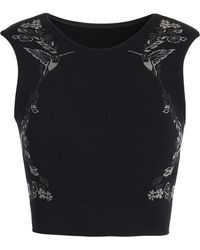 Lucas Hugh - Hummingbird Cropped Printed Stretch-jersey Top - Lyst