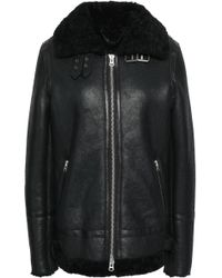 Muubaa - Shearling-trimmed Textured-leather Jacket - Lyst