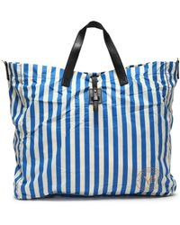 By Malene Birger - Leather-trimmed Striped Shell Tote - Lyst