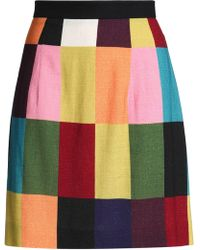 House of Holland - Color-block Brushed Woven Mini Skirt - Lyst