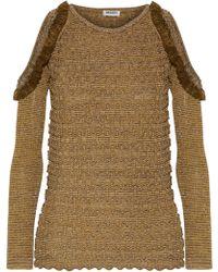 KENZO - Woman Cold-shoulder Metallic Bouclé-knit Sweater Gold - Lyst 1b9a74776