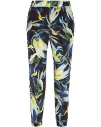 Erdem - Giulia Cropped Printed Silk Crepe De Chine Slim-leg Trousers - Lyst