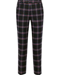 Iris & Ink - Cindy Cropped Checked Wool-blend Slim-leg Trousers - Lyst