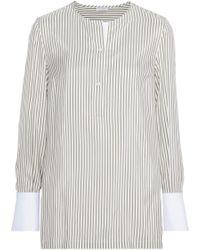 Brunello Cucinelli - Striped Silk Tunic Grey Green - Lyst