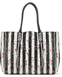 Lanvin - Floral-print Striped Textured-leather Tote - Lyst