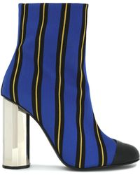 Marco De Vincenzo - Striped Coated Canvas Ankle Boots Bright Blue - Lyst