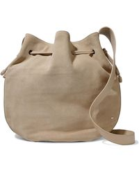 Halston - Pebbled Leather-trimmed Suede Bucket Bag - Lyst