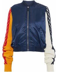 JW Anderson - Cable Knit Wool And Cotton-blend-paneled Shell Jacket - Lyst