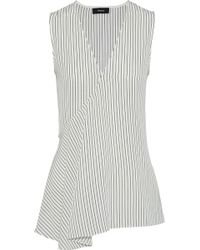 Theory - Wrap-effect Striped Silk Crepe De Chine Tunic - Lyst