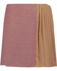 Carven - Crepe Panelled Tweed Mini Skirt - Lyst