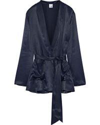 Iris & Ink - Woman Shannon Satin-twill Jacket Navy - Lyst