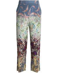 Valentino - Cropped Printed Silk Straight-leg Pants - Lyst