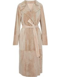 Yves Salomon - Reversible Belted Suede And Shearling Coat - Lyst