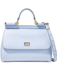 37e3cec5aa Lyst - Dolce   Gabbana Sicily Textured-leather Shoulder Bag in Blue