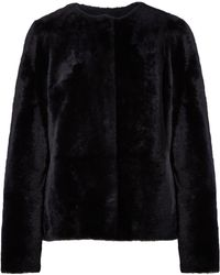 Yves Salomon - Woman Reversible Shearling Coat Midnight Blue - Lyst