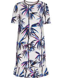 Emilio Pucci - Ruffle-trimmed Printed Satin-twill Dress - Lyst