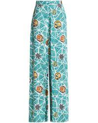Stella Jean - Pleated Printed Crepe Wide-leg Pants - Lyst