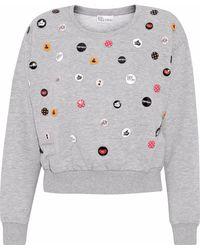 RED Valentino - Button-embellished Cotton-blend Fleece Sweatshirt - Lyst