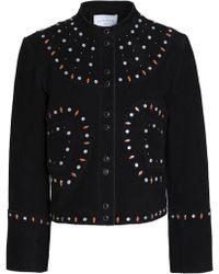 Sandro - Studded Suede Jacket - Lyst