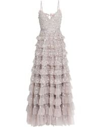 Needle & Thread Marie Tiered Embellished Tulle Gown Taupe
