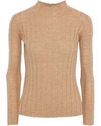 Iris & Ink Ribbed Wool Turtleneck Jumper Sand