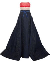 Carolina Herrera - Strapless Floral-appliquéd Woven, Faille And Jacquard Gown Midnight Blue - Lyst