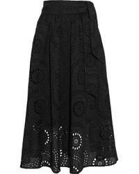 Iris & Ink - Mel Gathered Broderie Anglaise Cotton Midi Skirt - Lyst