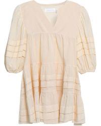 Zimmermann - Pleated Cotton-gauze Blouse Ivory - Lyst