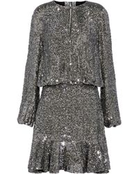 Alexis - Fluted Sequined Silk Mini Dress - Lyst