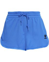 adidas Originals - Woman Ribbed-knit Jersey Shorts Blue Size 32 - Lyst