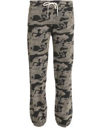 Monrow - Printed Jersey Track Trousers Sage Green - Lyst