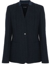 Elie Tahari - Woman Tori Leather-trimmed Cotton-blend Tweed Blazer Midnight Blue - Lyst