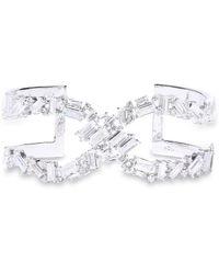 Noir Jewelry - Woman Silver-tone Crystal Cuff Silver - Lyst