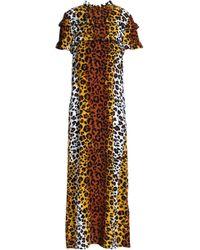 Love Moschino - Ruffled Leopard-print Crepe Midi Dress Animal Print - Lyst