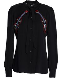 Love Moschino - Pussy-bow Embroidered Crepe De Chine Shirt - Lyst